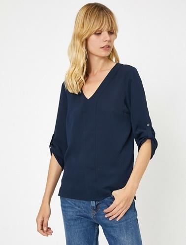 Koton Kol Detaylı Bluz Lacivert